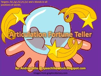 Articulation Fortune Tellers: Speech Homework