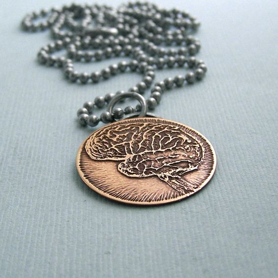 Right Brain - Left Brain - Etched Brass Disc on Stainless Steel Chain - Brain Necklace