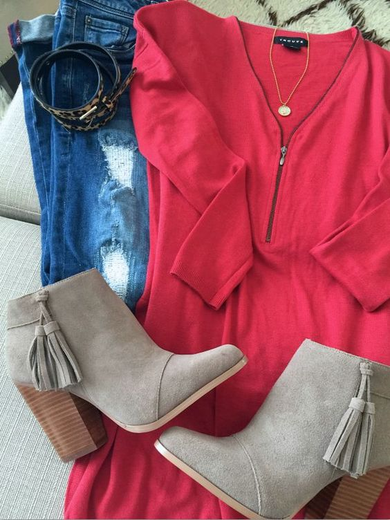 Fall fashion- distressed jeans, zip sweater, booties:
