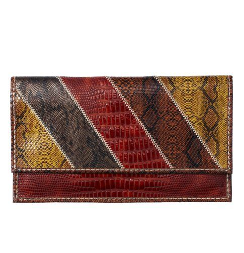 """Snake Print Patchwork Flat Clutch, $39.50  """"This funky clutch is bold to be noticed, but subtle enough to be versatile."""""""