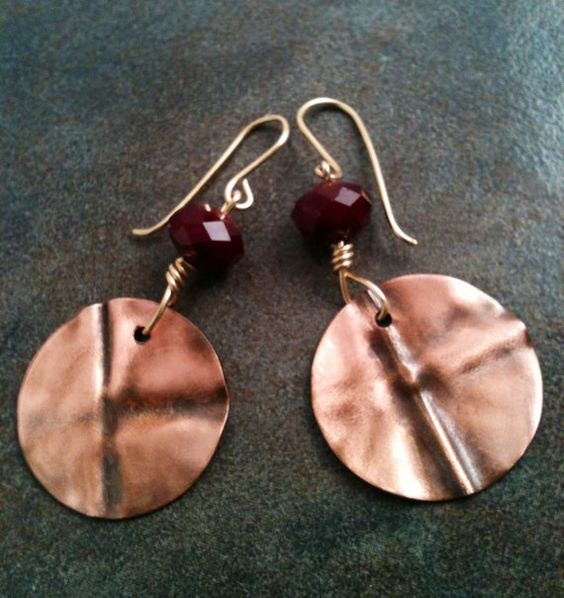 Handmade Copper  Beaded Earrings with  red by YMBlueOriginals, $25.00