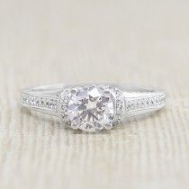 Modified Jessica with 0.84 Carat Center - 10k White Gold - Ring Size 6.75