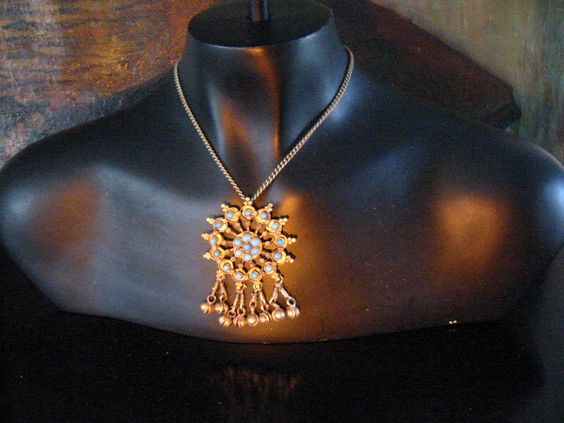 Turquoise Silver Pendant Hand Wrought Blossom Cluster