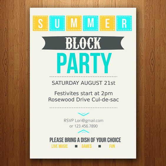 block party party invitations and invitations on pinterest. Black Bedroom Furniture Sets. Home Design Ideas
