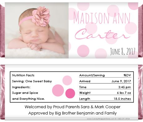 Baby Girl Sweet Pink Dots Photo Announcement Candy Bar Wrapper for – Birth Announcement Candy