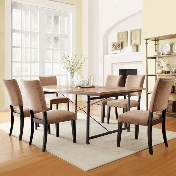 TRIBECCA HOME Presidio Rustic Brown Vintage Industrial Modern 7 Piece Dining