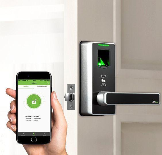 Zkteco Ml10id Fingerprint Door Lock With Smart Phone App Access Design Residentialarchitecture Planting Fingerprint Door Lock Smart Lock Smart Door Locks