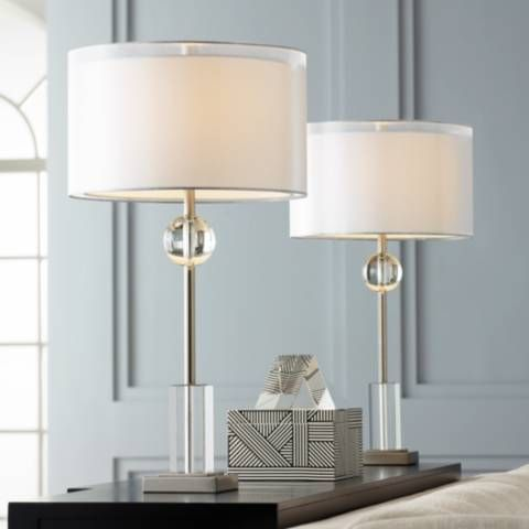 Vincent Brushed Nickel Console Table Lamps Set Of 2 66e10 Lamps Plus In 2021 Console Table Lamp Table Lamp Sets Table Lamp