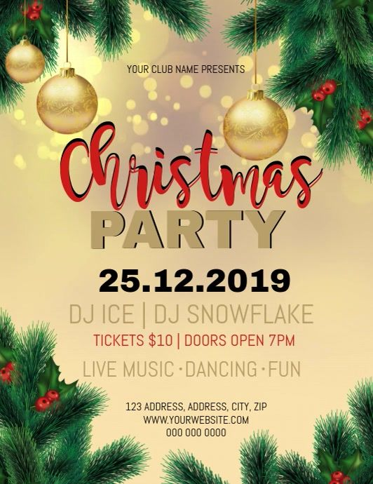 Christmas Party Event Video Flyer Template Christmas Party Christmas Poster Party Event