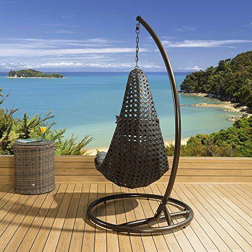 Modern Garden/Outdoor Hanging Chair Black Rattan Burnt Orange Cushion  Discount from Β£599 To Β£299