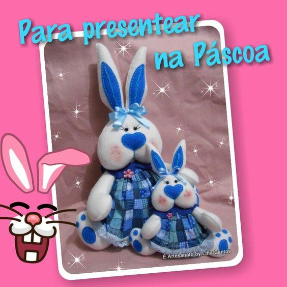 Coelhas   Encomendas por: E-mail: e_artesanato@hotmail.com Whatsapp: (11) 9 8810-5602 Loja: littasantos.elo7.com.br Blog: littasantos.blogspot.com.br Facebook: facebook.com/e.artesanato.by.litta.santos