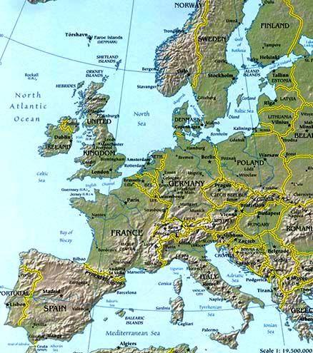 Terrain Map Europe Thefreebiedepot - Europe terrain map