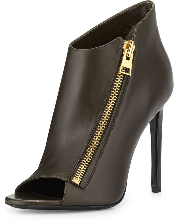 TOM FORD Open-Toe Zip-Front Leather Bootie, Musk