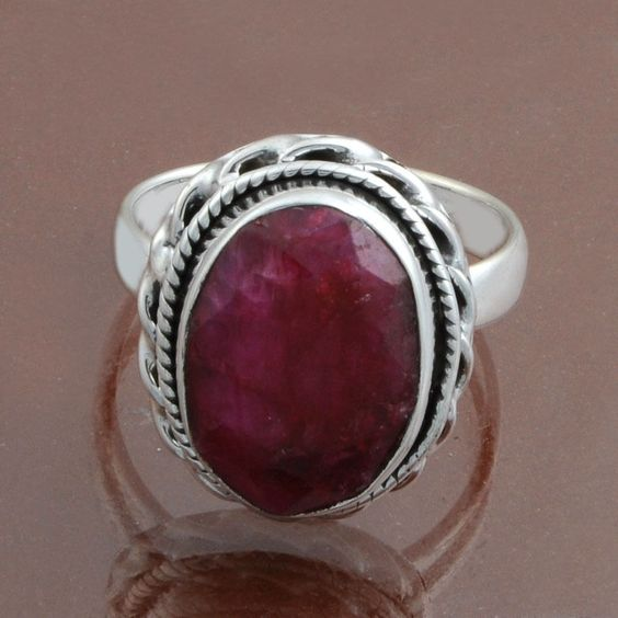 925 STERLING SILVER NEW DESIGNER RUBY RING 6.80g DJR8447 S-8 #Handmade #Ring