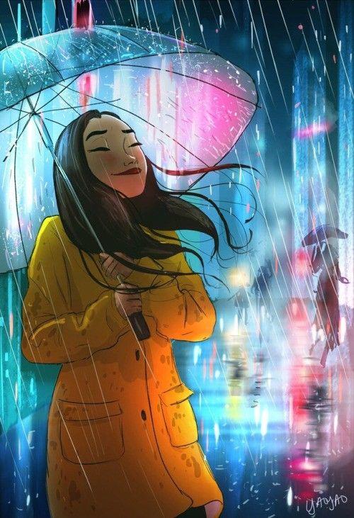 Mujer Feliz Bajo La Lluvia En La Noche Illustration Cómo Dibujar Cosas Dibujo De Blancanieves