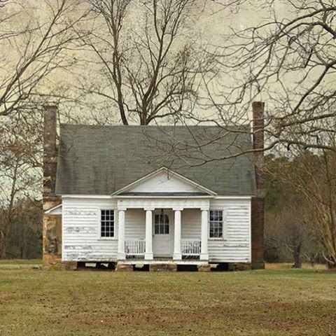 This charming Greek Revival cottage is located in Warren County, North Carolina. Somehow these cottages keep finding me so I can share them...