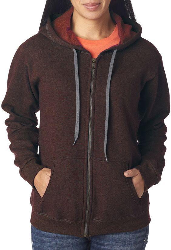 gildan(R) heavy blend? ladies' vintage full-zip hooded sweatshirt - russet (l)