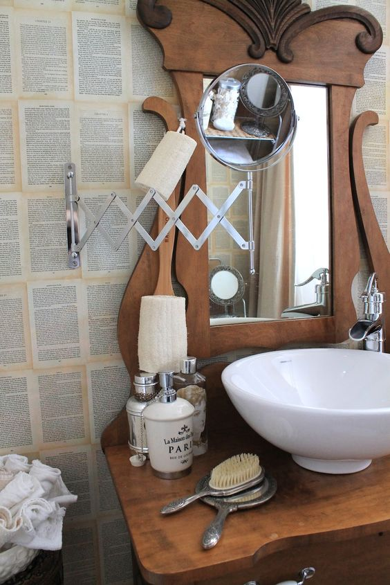 shaving extension mirrors rock! love the ceramic bowl sink on the antique dresser