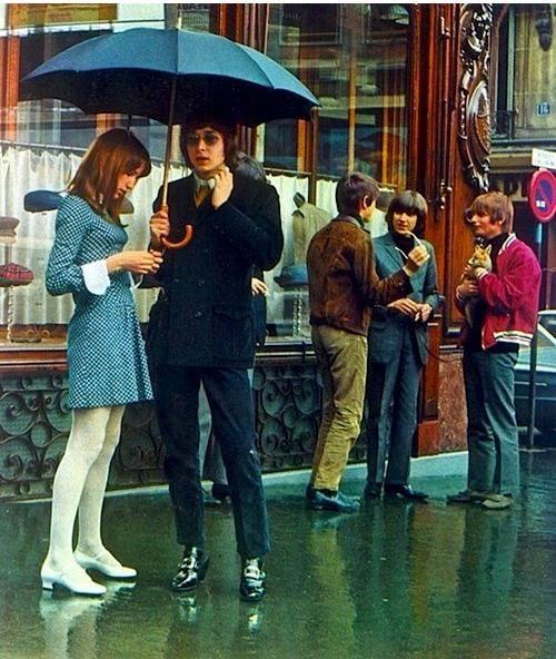 London 1960s found photo street style vintage fashion women mini dress skirt tights shoes blue white men pants jacket suit sportswear mod looks