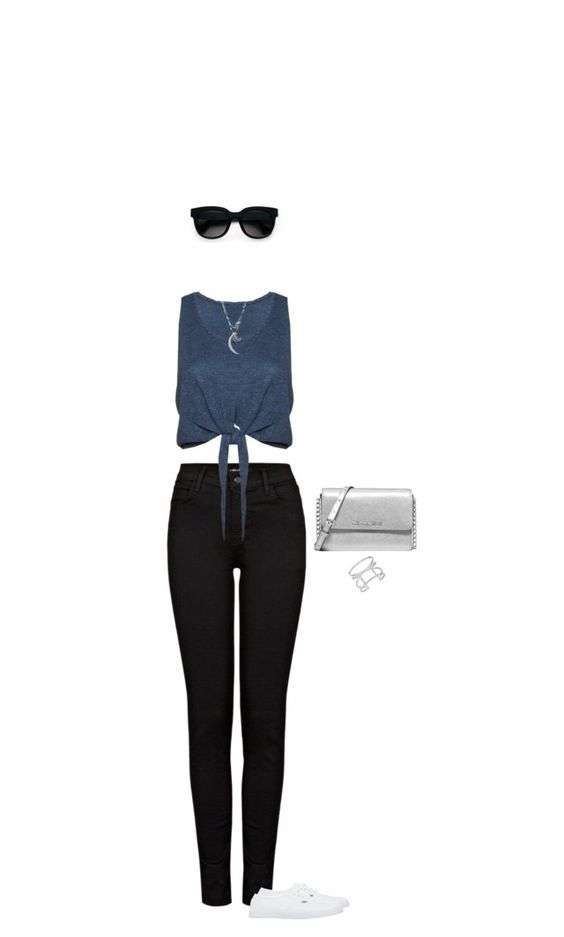 """""""Simply casual"""" by blueeyed-dreamer ❤ liked on Polyvore featuring J Brand, Alice + Olivia, Vans, Michael Kors, Vince Camuto, Balenciaga, Jennifer Zeuner, casual, jeans and whitesneakers"""