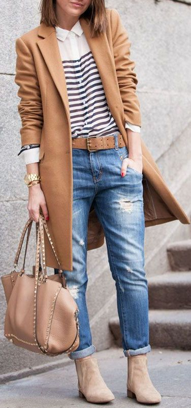 Beige Trench, Stripes, Distressed Jean & Booties// #street #fashion: