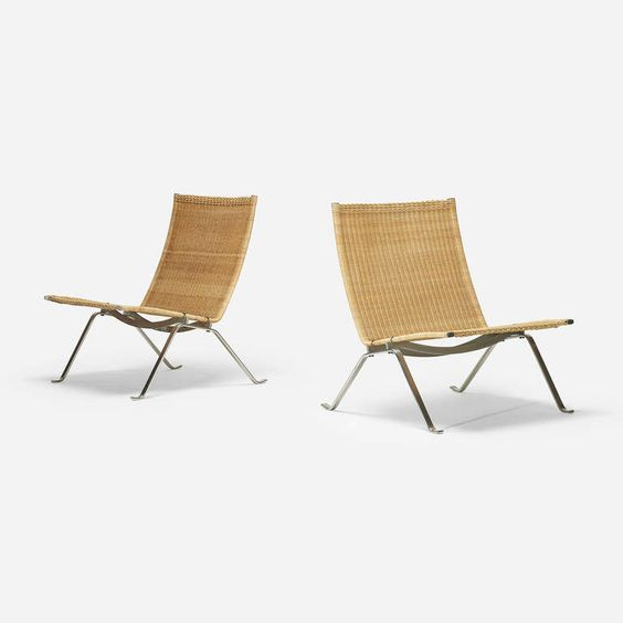PK 22 chairs, pair by Poul Kjaerholm | From a unique collection of antique and modern lounge chairs at http://www.1stdibs.com/furniture/seating/lounge-chairs/