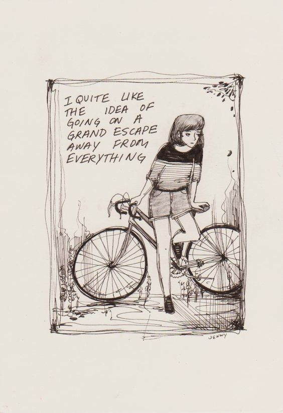 I felt like drawing a person with a bike. So I did. - Jenny Yu: