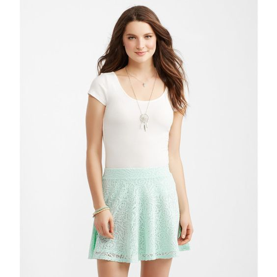 Aeropostale Lace Skater Skirt ($18) ❤ liked on Polyvore featuring skirts, aqua bliss and aéropostale