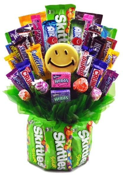 Skittles & Grins Candy Bouquet for Students | FREE SHIP: