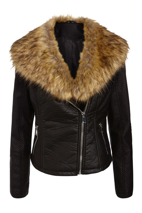 Matalan Black PU Jacket With Faux Fur Collar, £35 (Coming Soon)