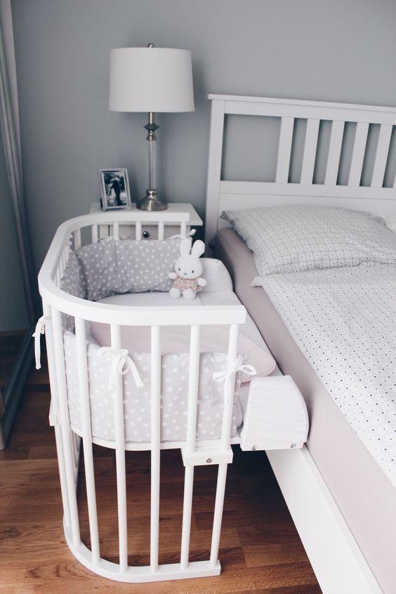 Bedroom: Grey Wall Design Baby Nursery Ideas Above Large ...