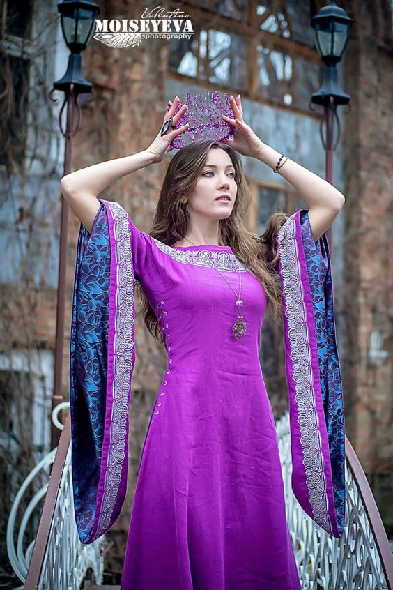 Medieval dress Violet Elven dress by HistoricalCostumes on Etsy