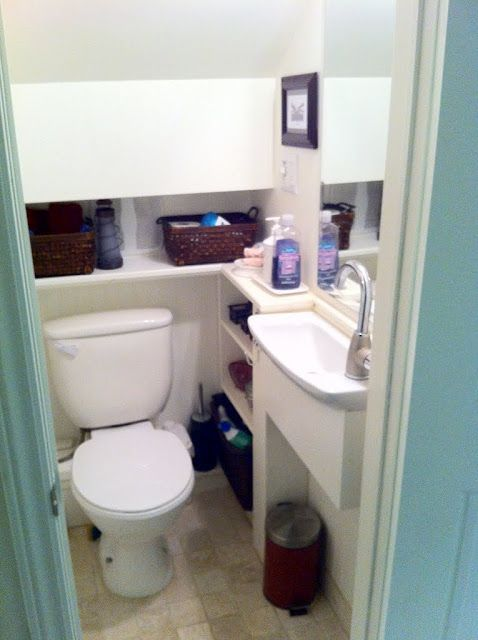 Small Bathroom in that weird space under the stairs. Perfect for the basement renovation.: