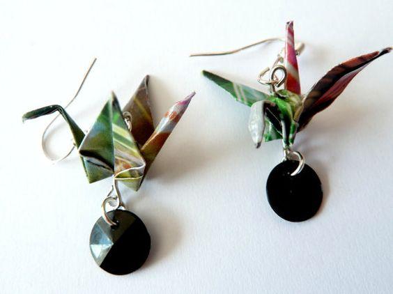 Boucles d'oreille origami Grue multicolore bijoux par papierelief