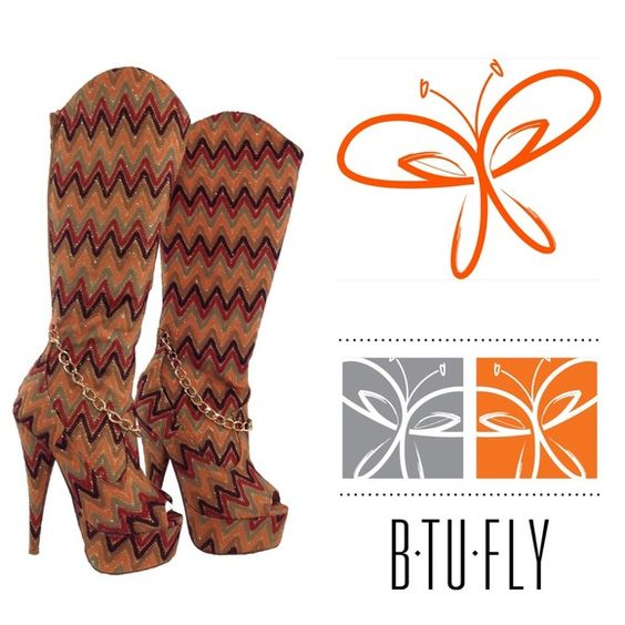 Multi Colored Chevron Fabric Boots Size 5.5 (FIRM) Rust, brown ...