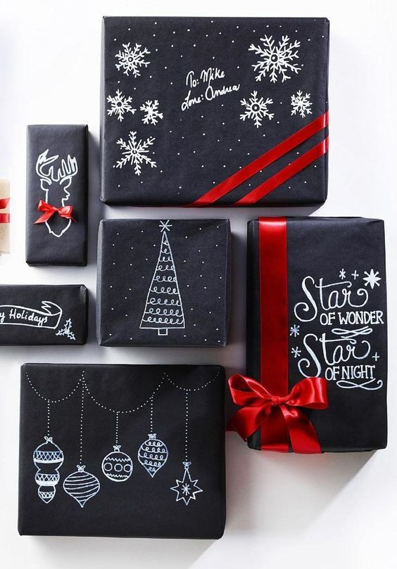 Love this wrapping...you could make your own with black paper and a white sharpie pen!: