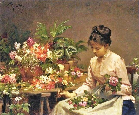 Victor-Gabriel Gilbert - The Flower Seller Arranging Flowers.: