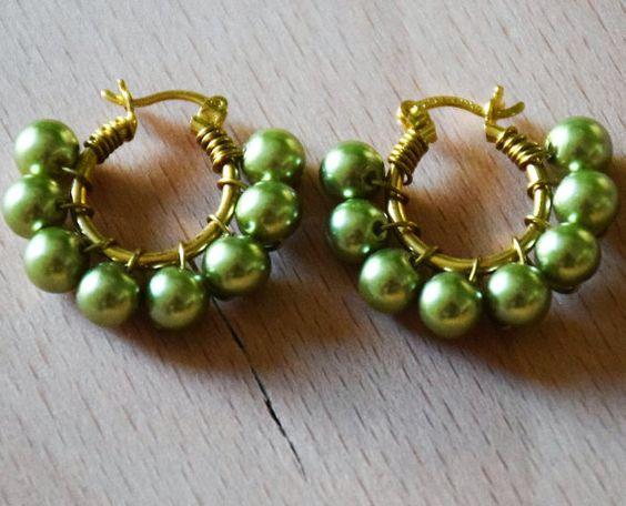 Arracada baño de oro con perlas de cristal por CrystalDreamsUSA