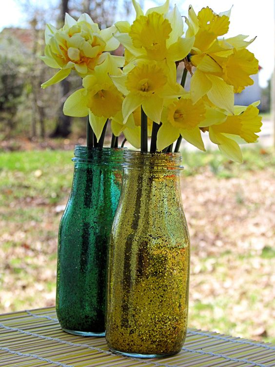 Green & Gold Vases (St. Patrick's Day) - made from old jars, floor cleaner, and glitter from the dollar store.