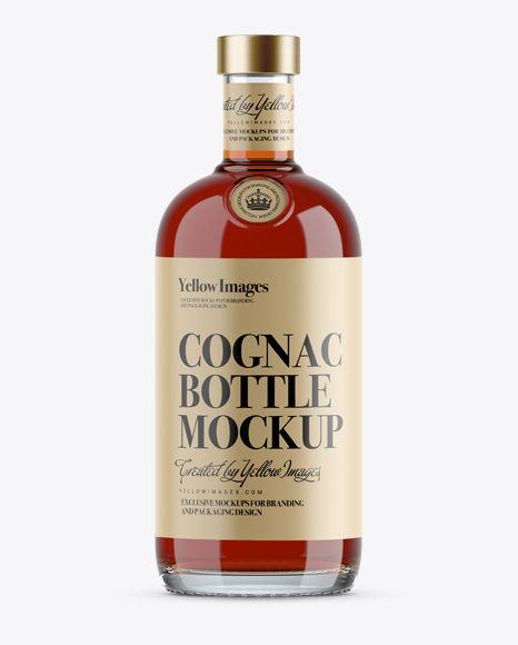 Free Psd Mockup 700ml Clear Glass Cognac Bottle Mockup Object Mockups Bottle Mockup Mockup Free Download Mockup Free Psd