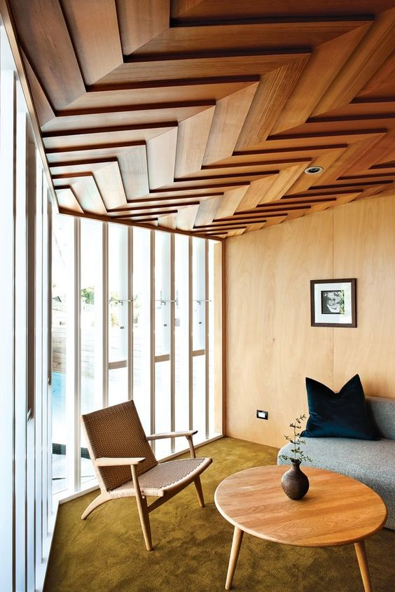 Pin 1: This parquetry style timber roof is a beautiful addition to this space. It adds detail and a geometric element, and the way the light floods in through the windows enhances the bold pattern and texture. However because it is so rich in colour is does make the room seem quite small, this feature would be ideal for a high ceiling.