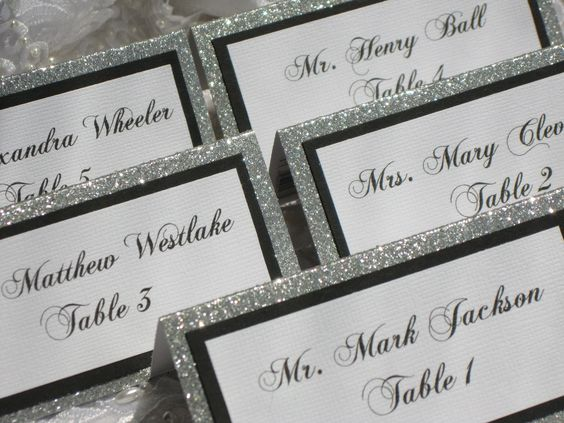 Glitter Tented Place Cards Set of 50 Name Cards Escort Cards ...