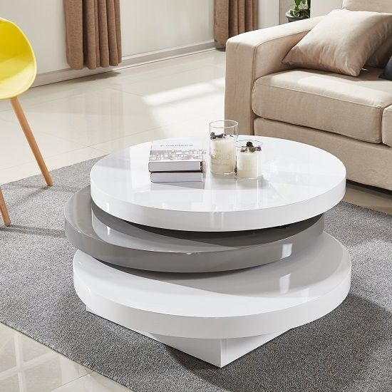 Triplo Rotating Coffee Table In White And Grey High Gloss Center Table Living Room Coffee Table White Gloss Coffee Table
