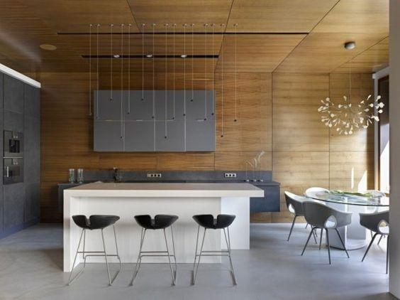 cuisine ultra moderne avec un luminaire moderne - suspension petites ...
