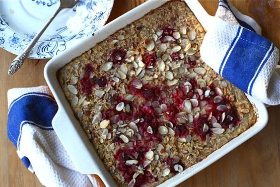 baked raspberry oatmeal from a cozy kitchen