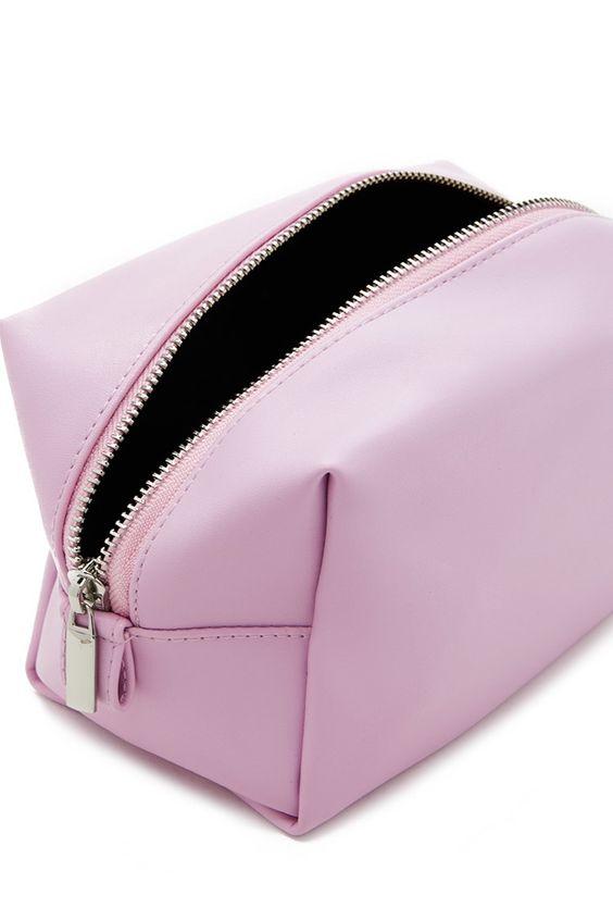 Faux leather makeup bag