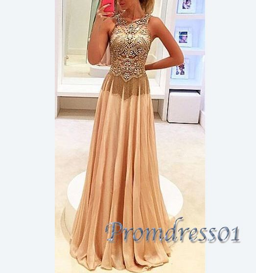 2016 elegant gold chiffon long prom dress with top details, ball gown,vintage prom dress #coniefox #2016prom