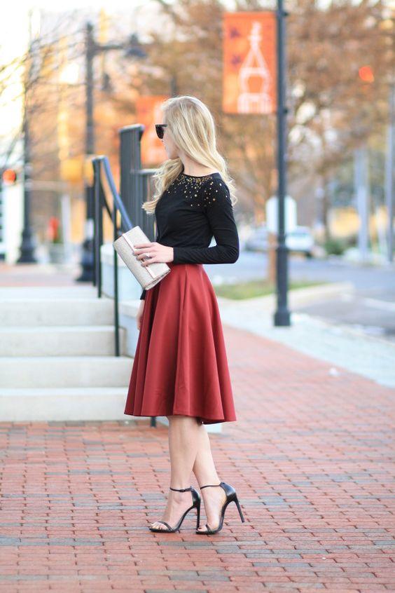 Stilettos & Sequins: Beaded tee, burgundy midi skirt, gold clutch ...