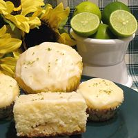 """White Chocolate Key Lime Muffins or Cake Recipe. My changes:  I used 5.3oz Chobani  lime Greek yogurt, 2 TBS unsalted butter, 1/3 c buttermilk, and Omitted white chips.  We loved this!!!  I doubled recipe and made a huge bundt cake.   Made glaze with an extra tbs of lime juice and applied several coats to cooled cake for beautiful """"shell"""". Will make cupcakes next time."""