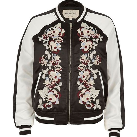 River Island Black embroidered bomber jacket (€76) ❤ liked on Polyvore featuring outerwear, jackets, coats, tops, coats & jackets, zip front jacket, embroidered jackets, embroidered bomber jackets, flight jackets and embroidery jackets